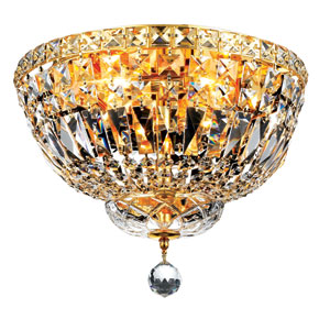 Tranquil Gold Four-Light 14-Inch Flush Mount with Royal Cut Clear Crystal