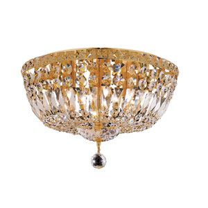 Tranquil Gold Six-Light 16-Inch Flush Mount with Royal Cut Clear Crystal