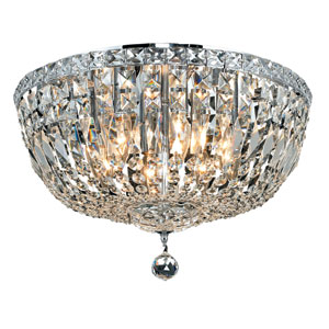 Tranquil Chrome Eight-Light 18-Inch Flush Mount with Royal Cut Clear Crystal