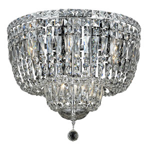 Tranquil Chrome Ten-Light 20-Inch Flush Mount with Royal Cut Clear Crystal