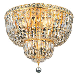 Tranquil Gold Ten-Light 20-Inch Flush Mount with Royal Cut Clear Crystal