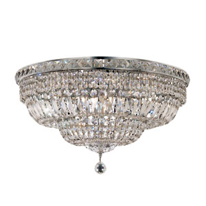 Tranquil Chrome Twelve-Light 24-Inch Flush Mount with Royal Cut Clear Crystal