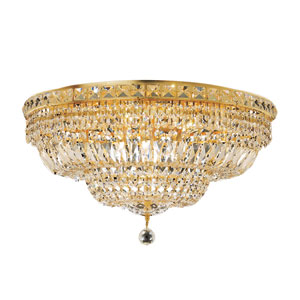 Tranquil Gold Twelve-Light 24-Inch Flush Mount with Royal Cut Clear Crystal