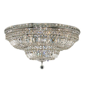 Tranquil Chrome Eighteen-Light 30-Inch Flush Mount with Royal Cut Clear Crystal