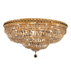Tranquil Gold Eighteen-Light 30-Inch Flush Mount with Royal Cut Clear Crystal