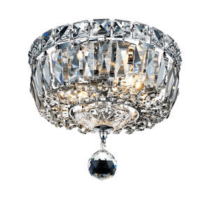 Tranquil Chrome Two-Light 8-Inch Flush Mount with Royal Cut Clear Crystal