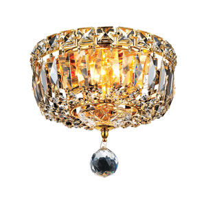 Tranquil Gold Two-Light 8-Inch Flush Mount with Royal Cut Clear Crystal