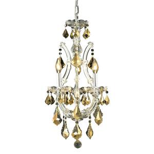 Maria Theresa Chrome Four-Light 12-Inch Mini Chandelier with Royal Cut Golden Teak Smoky Crystal