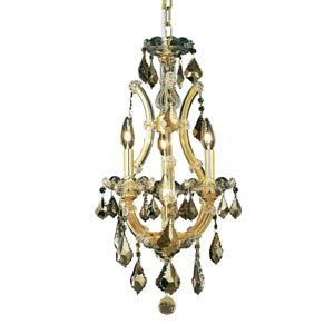 Maria Theresa Gold Four-Light 12-Inch Mini Chandelier with Royal Cut Golden Teak Smoky Crystal
