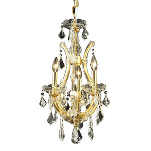 Maria Theresa Gold Four-Light 12-Inch Mini Chandelier with Elegant Cut Clear Crystal