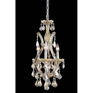 Maria Theresa Swarovski Strass Crystal Golden Teak Four Light 22-in Chandelier