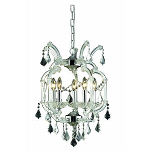Maria Theresa Elegant Cut Crystal Chrome Five Light 23-in Chandelier