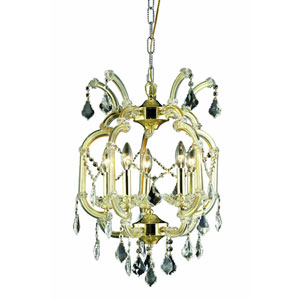 Maria Theresa Swarovski Strass Crystal Gold Five Light 23-in Chandelier
