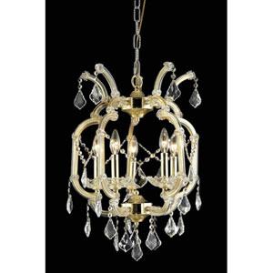 Maria Theresa Swarovski Strass Crystal Golden Teak Five Light 23-in Chandelier