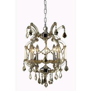 Maria Theresa Royal Cut Crystal Golden Teak Five Light 23-in Pendant