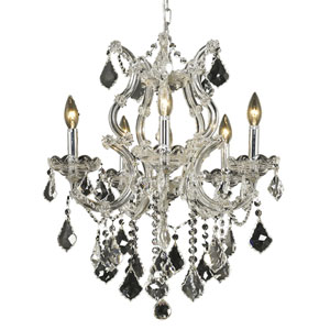 Maria Theresa Chrome Six-Light 20-Inch Chandelier with Royal Cut Clear Crystal