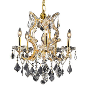 Maria Theresa Gold Six-Light 20-Inch Chandelier with Royal Cut Clear Crystal