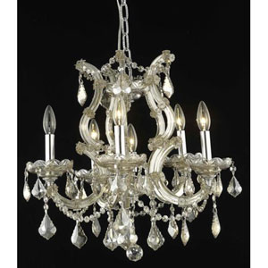 Maria Theresa Golden Teak Six-Light Chandelier with Golden Teak/Smoky Royal Cut Crystals