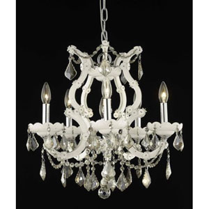 Maria Theresa White Six-Light Chandelier with Golden Teak/Smoky Royal Cut Crystals