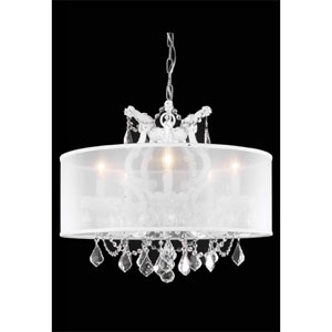 Maria Theresa White Six-Light Chandelier with Clear Royal Cut Crystals