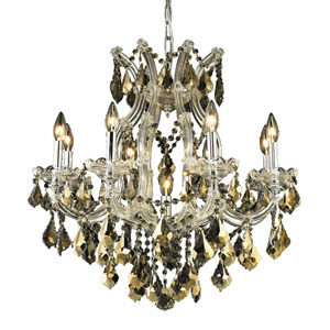 Maria Theresa Chrome Nine-Light 26-Inch Chandelier with Royal Cut Golden Teak Smoky Crystal