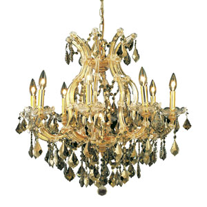 Maria Theresa Gold Nine-Light 26-Inch Chandelier with Royal Cut Golden Teak Smoky Crystal