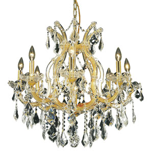 Maria Theresa Gold Nine-Light 26-Inch Chandelier with Royal Cut Clear Crystal