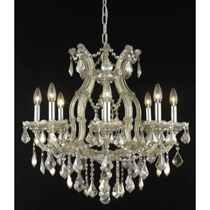 Maria Theresa Golden Teak Nine-Light Chandelier with Golden Teak/Smoky Royal Cut Crystals