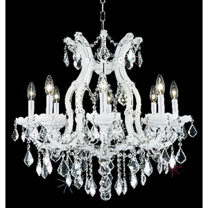 Maria Theresa White Nine-Light Chandelier with Clear Royal Cut Crystals