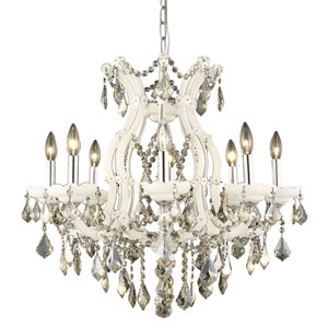 Maria Theresa White Nine-Light Chandelier with Golden Teak/Smoky Royal Cut Crystals