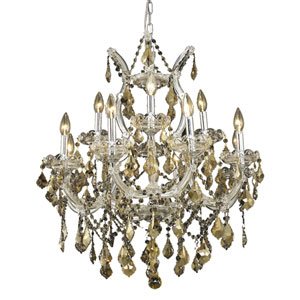 Maria Theresa Chrome Thirteen-Light 27-Inch Chandelier with Royal Cut Golden Teak Smoky Crystal