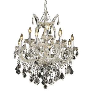 Maria Theresa Chrome Thirteen-Light 27-Inch Chandelier with Royal Cut Clear Crystal