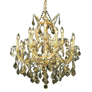 Maria Theresa Gold Thirteen-Light 27-Inch Chandelier with Royal Cut Golden Teak Smoky Crystal