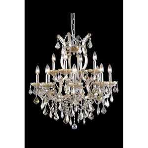 Maria Theresa Swarovski Strass Crystal Golden Teak 13 Light 28-in Chandelier