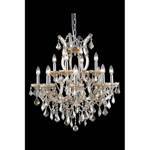 Maria Theresa Royal Cut Crystal Golden Teak 13 Light 28-in Chandelier
