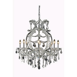 Maria Theresa Royal Cut Crystal Chrome Eight Light 32.5-in Chandelier