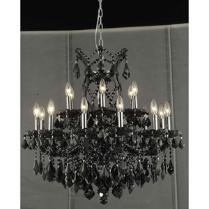 Maria Theresa Black 19-Light Chandelier with Jet Black Royal Cut Crystal