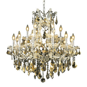 Maria Theresa Chrome Nineteen-Light 30-Inch Chandelier with Royal Cut Golden Teak Smoky Crystal