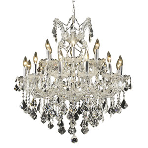 Maria Theresa Chrome Nineteen-Light 30-Inch Chandelier with Royal Cut Clear Crystal