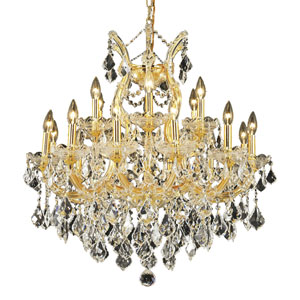Maria Theresa Gold Nineteen-Light 30-Inch Chandelier with Royal Cut Clear Crystal