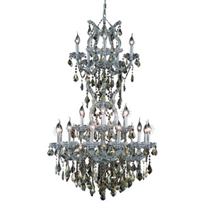 Maria Theresa Chrome Twenty-Five Light 30-Inch Chandelier with Royal Cut Golden Teak Smoky Crystal