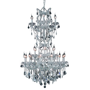 Maria Theresa Chrome Twenty-Five Light 30-Inch Chandelier with Royal Cut Clear Crystal