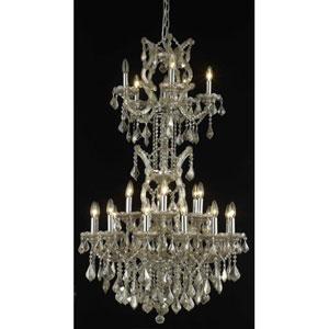 Maria Theresa Golden Teak Twenty-Five Light Chandelier with Golden Teak/Smoky Royal Cut Crystals