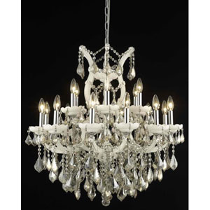 Maria Theresa White Nineteen-Light Chandelier with Golden Teak/Smoky Royal Cut Crystals