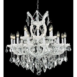 Maria Theresa White Nineteen-Light Chandelier with Clear Royal Cut Crystals