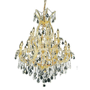 Maria Theresa Gold Nineteen-Light 32-Inch Chandelier with Royal Cut Clear Crystal