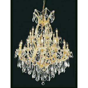 Maria Theresa Royal Cut Crystal Golden Teak 19 Light 42-in Chandelier