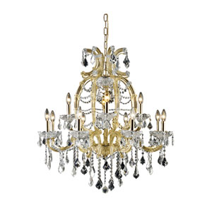 Maria Theresa Swarovski Strass Crystal Gold 12 Light 35.5-in Chandelier