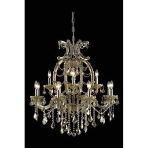 Maria Theresa Swarovski Strass Crystal Golden Teak 12 Light 35.5-in Chandelier