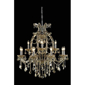 Maria Theresa Royal Cut Crystal Golden Teak 12 Light 35.4-in Chandelier